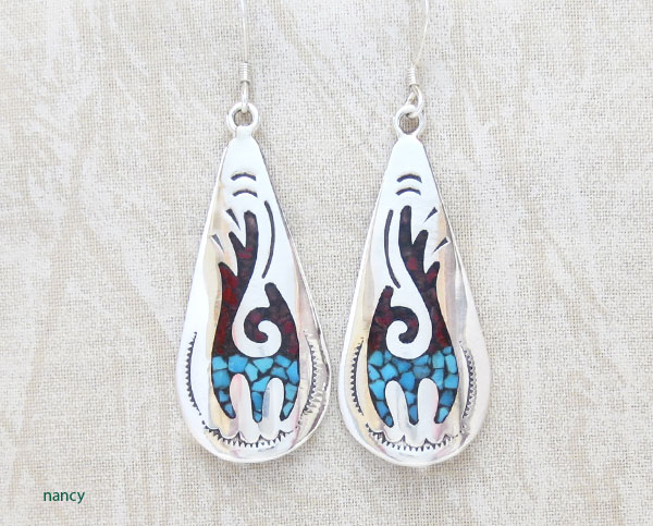 Image 0 of    Navajo Made Turquoise Coral Chip Inlay & Sterling Silver Earrings - 1907sn