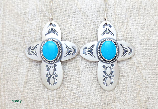 Image 0 of     Turquoise & Sterling Silver Cross Earrings Native American Jewelry - 1906sw