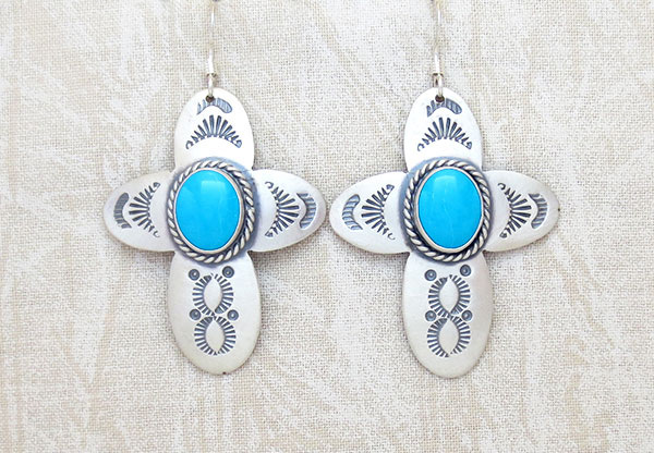 Turquoise & Sterling Silver Cross Earrings Native American Jewelry - 1906sw
