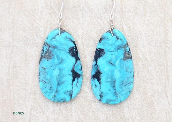 Image 0 of      Native American Jewelry Turquoise Slab Earrings Kewa - 1908pl