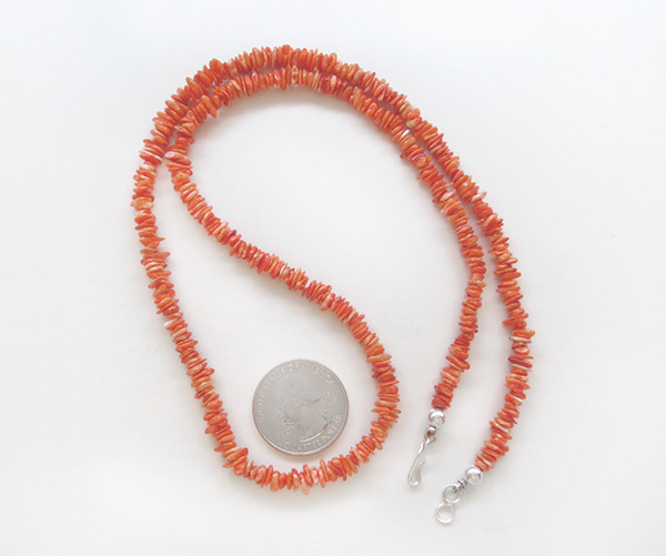 Image 2 of    Orange Spiny Oyster Necklace Native American Jewelry - 1920sn