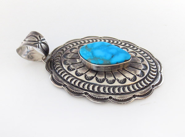 Image 2 of Old Style Turquoise & Sterling Silver Pendant Navajo Made - 1917rio