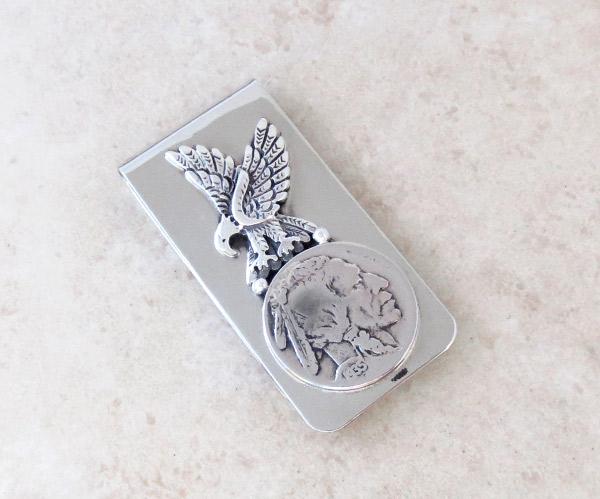 Image 0 of Indian Head Nickel & Silver Eagle Money Clip Native American - 1938sn