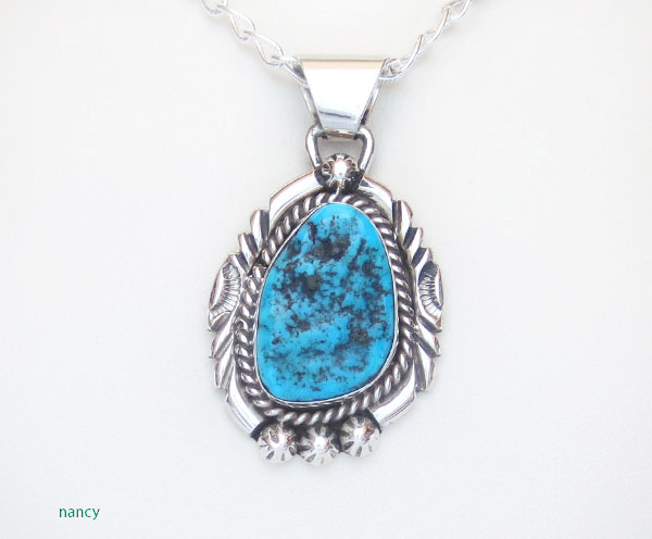 Turquoise & Sterling Silver Pendant Native American Jewelry - 5379sn