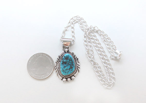 Image 1 of    Turquoise & Sterling Silver Pendant Native American Jewelry - 5379sn