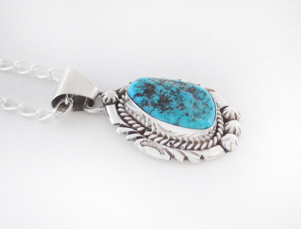 Image 2 of    Turquoise & Sterling Silver Pendant Native American Jewelry - 5379sn