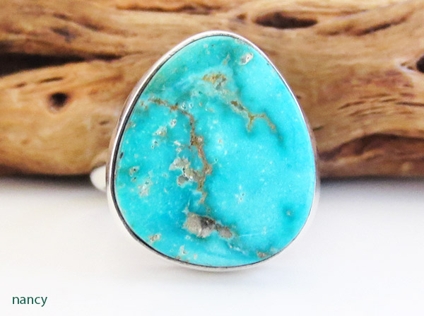 Turquoise & Sterling Silver Ring Size 8 Native American Jewelry - 1921sn