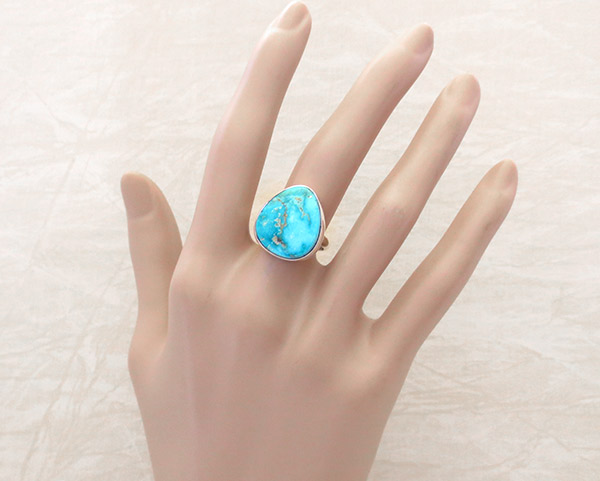 Image 1 of      Turquoise & Sterling Silver Ring Size 8 Native American Jewelry - 1921sn