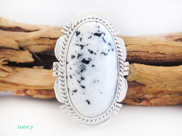 White Buffalo Stone & Sterling Silver Ring Sz 8 Navajo -1923sn