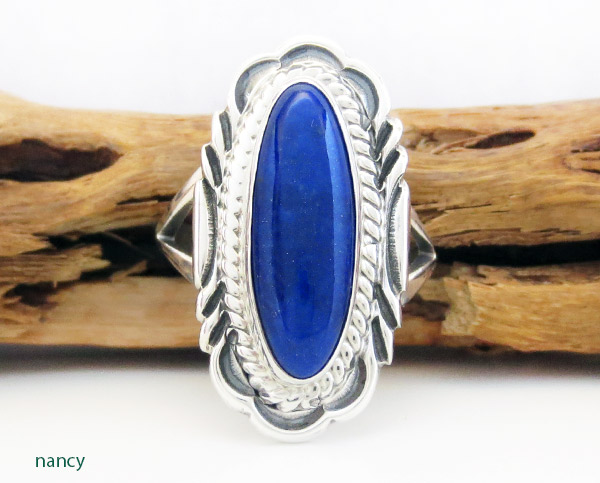 Lapis & Sterling Silver Ring Sz 9 Native American Jewelry - 1939rio