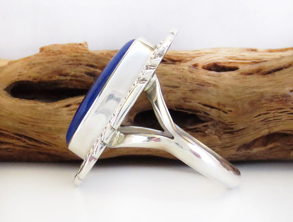 Image 2 of      Lapis & Sterling Silver Ring Sz 9 Native American Jewelry - 1939rio