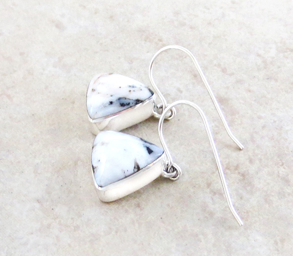 Image 1 of Navajo Jewelry White Buffalo Stone & Sterling Silver Earrings - 4236sn