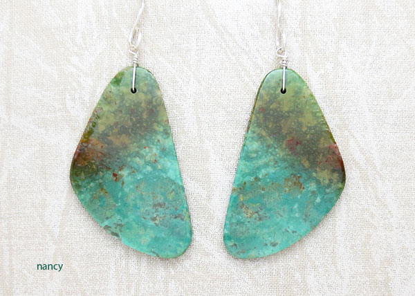 Image 0 of     Turquoise Slab Earrings Native American Jewelry - 1902rio