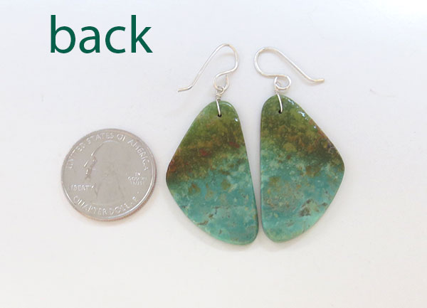 Image 2 of     Turquoise Slab Earrings Native American Jewelry - 1902rio
