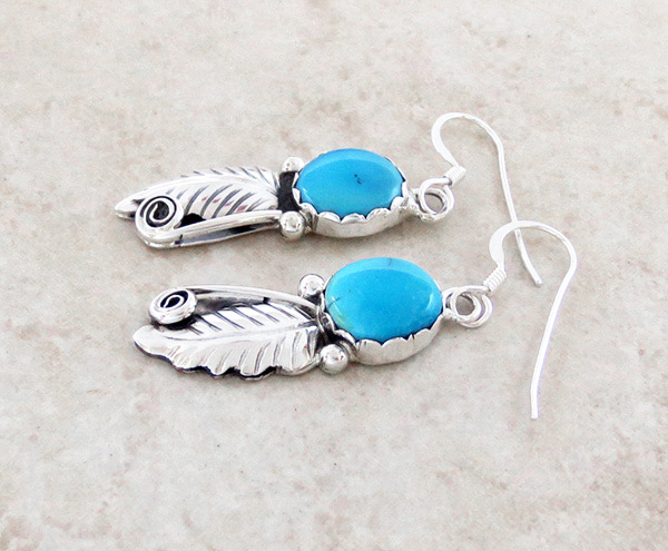 Image 1 of   Turquoise & Sterling Silver Leaf Earrings Navajo Jewelry - 2796rio