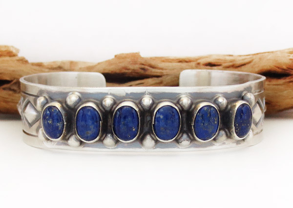 Image 0 of  Lapis Sterling Silver Bracelet Native American Jewelry - 1926sn