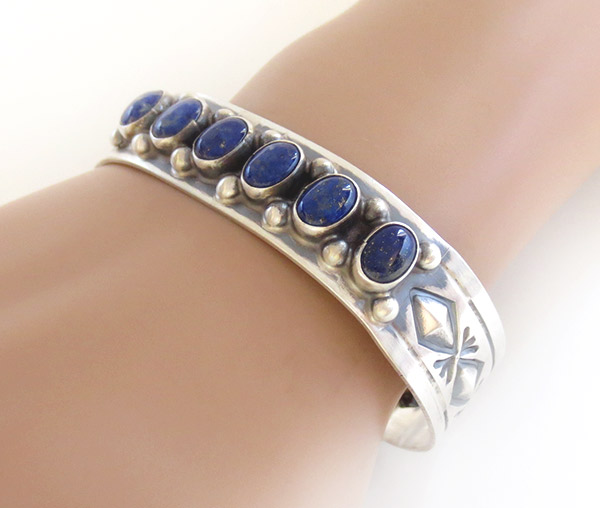 Image 1 of  Lapis Sterling Silver Bracelet Native American Jewelry - 1926sn