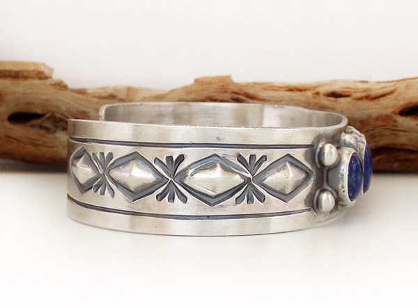 Image 2 of  Lapis Sterling Silver Bracelet Native American Jewelry - 1926sn