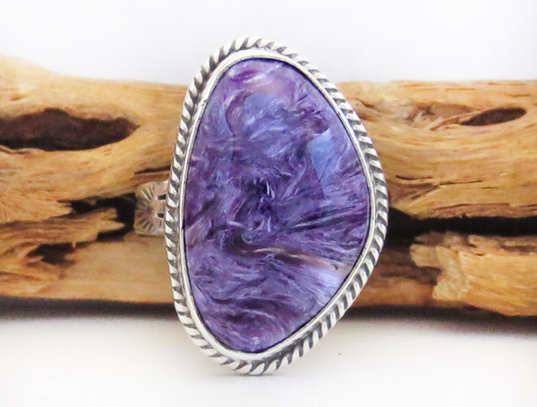 Charoite & Sterling Silver Ring Sz 8 Native American Jewelry - 1927sn