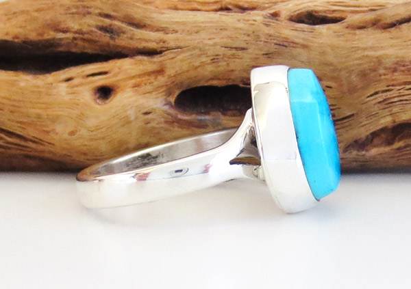 Image 2 of   Small Turquoise & Sterling Silver Ring Size 6 Native American Jewelry - 1925sn