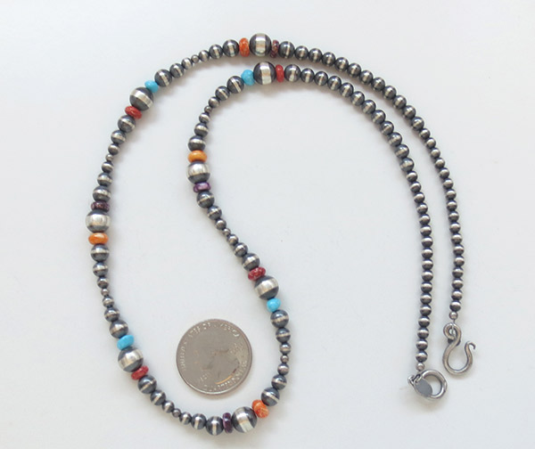 Image 1 of       Sterling Silver Bead Turquoise & Spiny Oyster Necklace 24