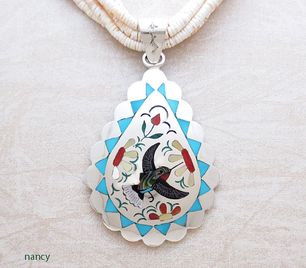 Image 0 of Hummingbird Inlay Pendant Zuni Native American Jewelry - 1702dt