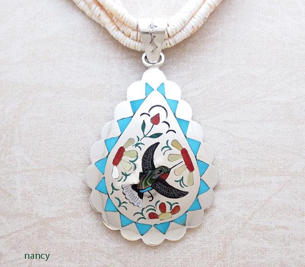 Hummingbird Inlay Pendant Zuni Native American Jewelry - 1702dt