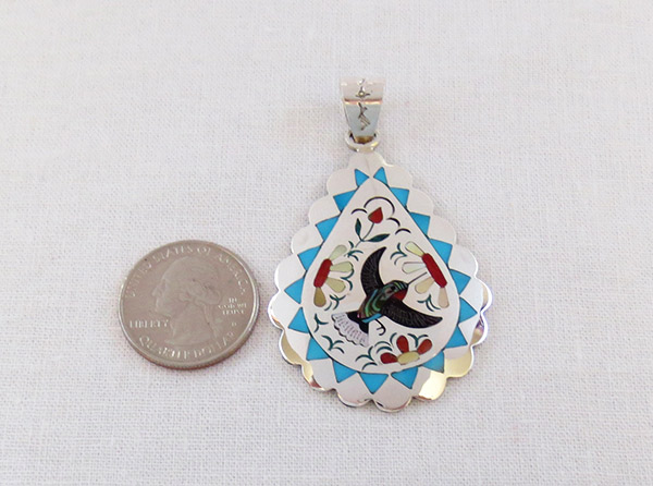 Image 1 of     Hummingbird Inlay Pendant Zuni Native American Jewelry - 1702dt