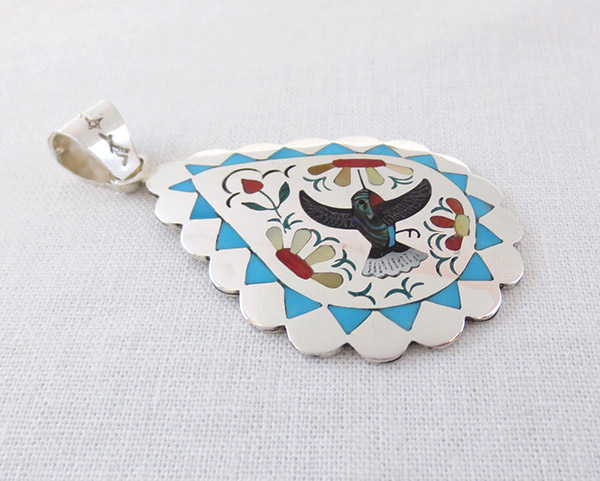 Image 2 of Hummingbird Inlay Pendant Zuni Native American Jewelry - 1702dt
