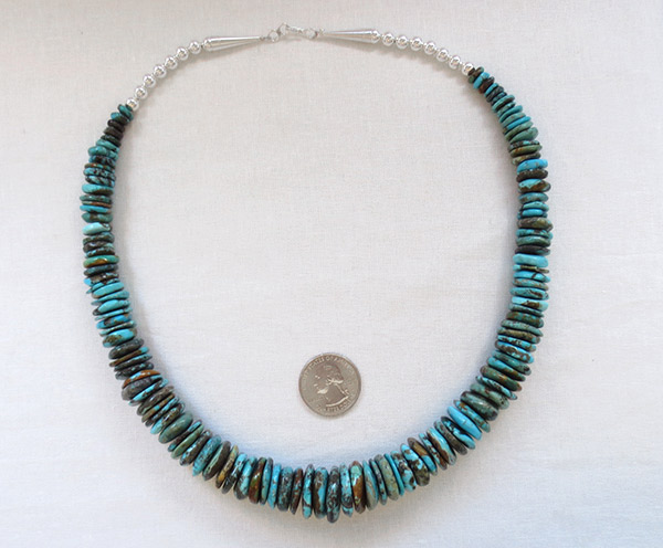 Image 3 of      Turquoise & Sterling Silver Necklace 21