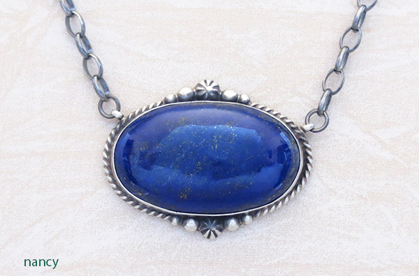 Image 0 of   Lapis & Sterling Silver Pendant w/ Link Chain Native American Jewelry - 1705dt