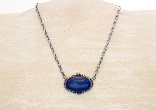 Image 1 of   Lapis & Sterling Silver Pendant w/ Link Chain Native American Jewelry - 1705dt