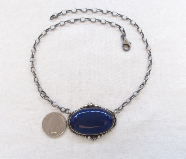 Image 2 of   Lapis & Sterling Silver Pendant w/ Link Chain Native American Jewelry - 1705dt