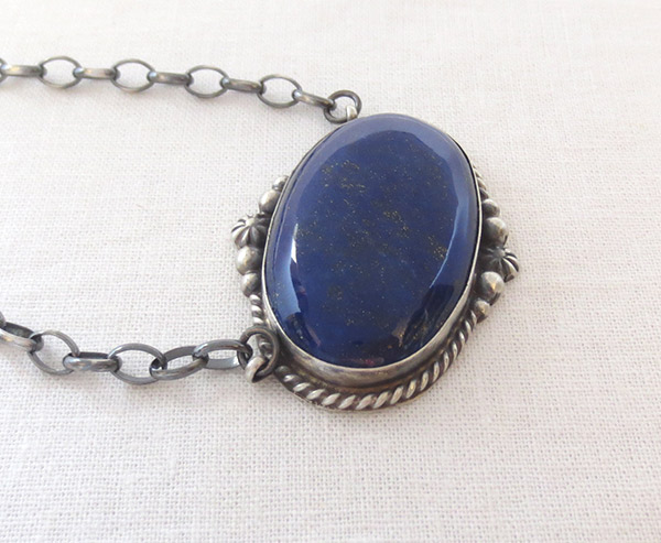 Image 3 of   Lapis & Sterling Silver Pendant w/ Link Chain Native American Jewelry - 1705dt