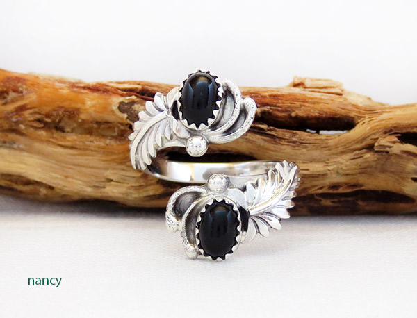 Black Onyx & Sterling Silver Adjustable Ring Native American Jewelry - 1750rb