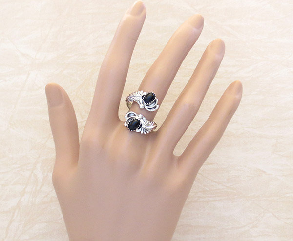 Image 1 of Black Onyx & Sterling Silver Adjustable Ring Native American Jewelry - 1750rb