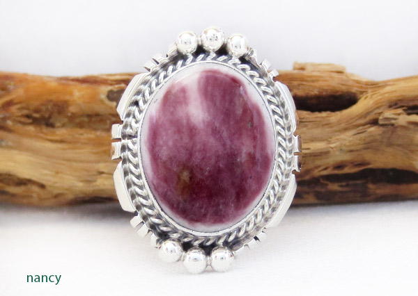 Purple Spiny Oyster & Sterling Silver Ring Sz 9 Native American Jewelry - 1728rb