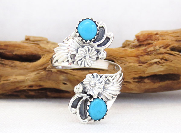Turquoise & Sterling Silver Adjustable Ring Native American Jewelry - 1708rb