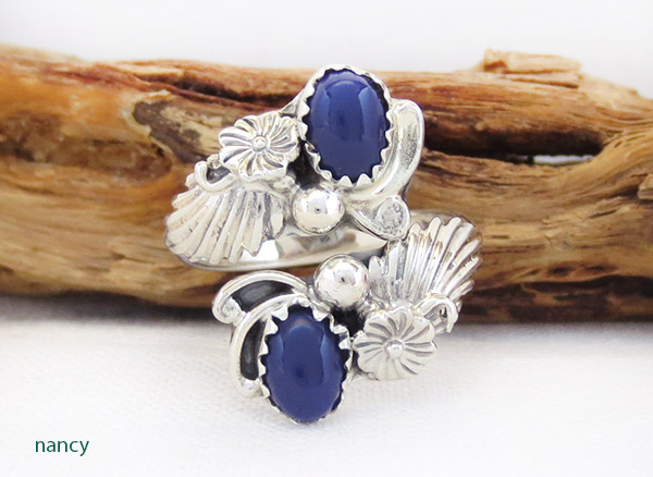 Image 0 of         Lapis & Sterling Silver Adjustable Ring Native American Jewelry - 1736rb