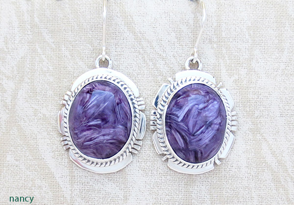Image 0 of       Charoite & Sterling Silver Earrings Native American Jewelry - 1715sn