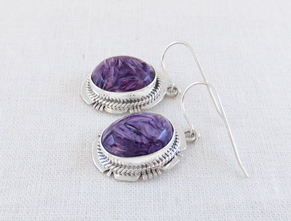 Image 1 of    Charoite & Sterling Silver Earrings Native American Jewelry - 1715sn