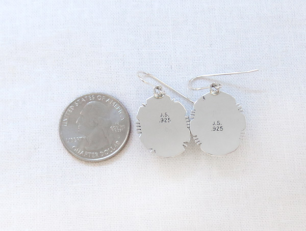 Image 2 of    Charoite & Sterling Silver Earrings Native American Jewelry - 1715sn
