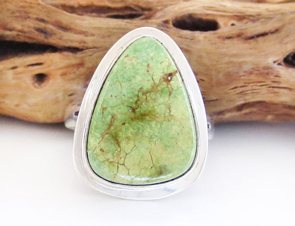 Native American Jewelry Green Turquoise & Sterling Silver Ring Size 7 - 1932sn
