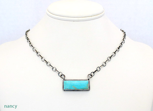 Image 0 of    Turquoise & Sterling Silver Pendant Necklace Native American Jewelry - 1709dt