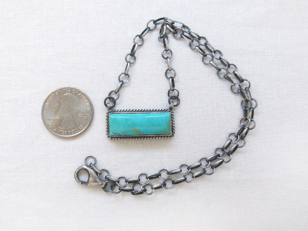 Image 1 of    Turquoise & Sterling Silver Pendant Necklace Native American Jewelry - 1709dt