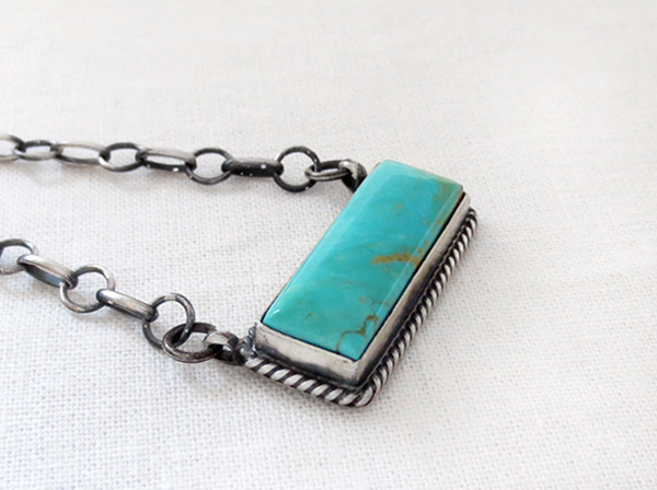 Image 2 of    Turquoise & Sterling Silver Pendant Necklace Native American Jewelry - 1709dt
