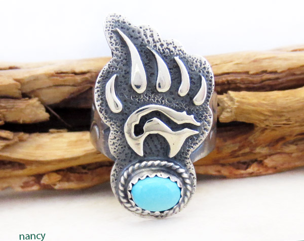 Turquoise & Sterling Silver Bear Ring Sz 6.5 Navajo Jewelry - 1738rb