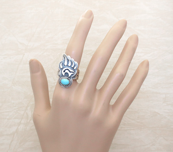 Image 1 of    Turquoise & Sterling Silver Bear Ring Sz 6.5 Navajo Jewelry - 1738rb