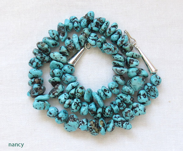 Image 1 of Turquoise Nugget & Sterling Silver Necklace 18