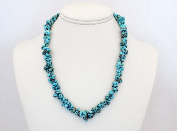 Image 2 of Turquoise Nugget & Sterling Silver Necklace 18
